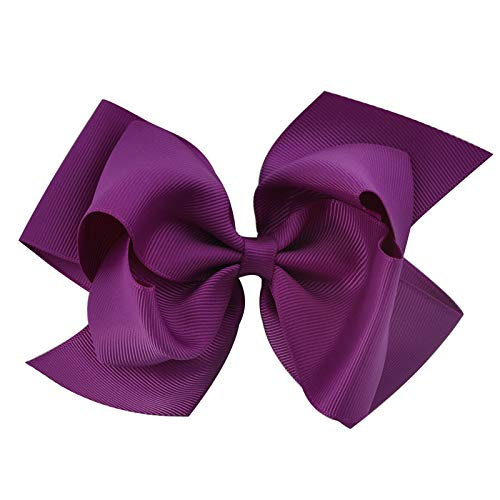 - 1Pc 6 Inch Bowknot Double Layers Solid Grosgrain Ribbon Hairbow Children Girls Hair Bows Clips Hair Accessories Dancing Hairpins violet