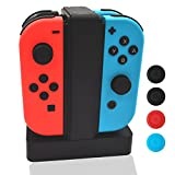 Nintendo Switch Joy-Cons Charging Dock, Vorida Charge Stand With Indicator Light Thumb Stick Caps for Nintendo Switch