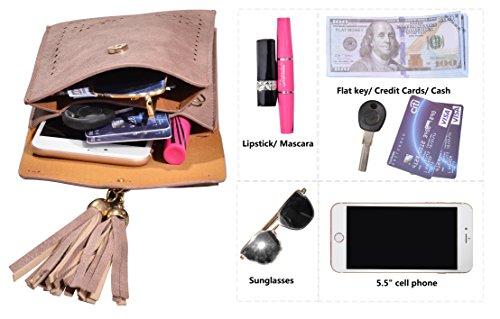 Crossbody Phone Bag Women's Shoulder Small Wallet Tassel Pink Cell Outrip Purse Bag 71qfxwnOE