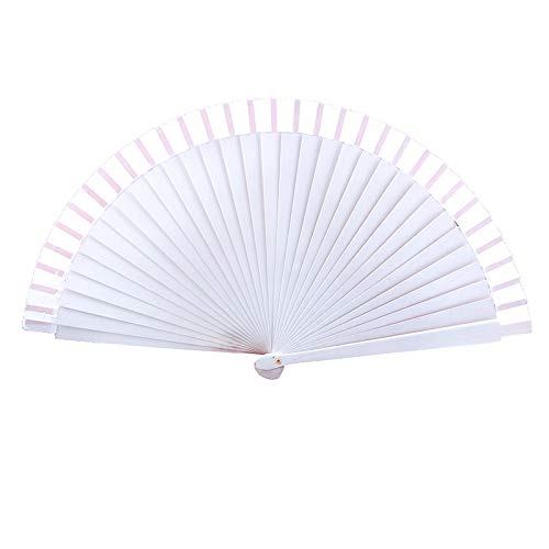 WPKWDHF White Dance Performance Wooden Fan Vintage Wedding Clothing Accessories Hand-Painted Folding Fan