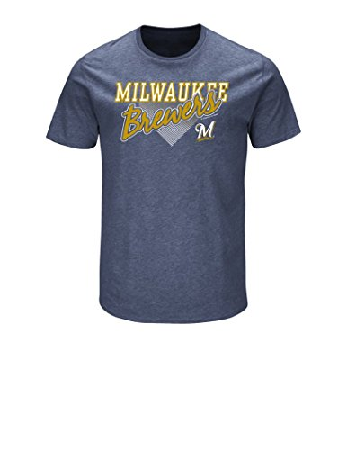 VF LSG MLB Milwaukee Brewers Men's Master This Tee, Navy Heather, (Milwaukee Brewers Shirt)