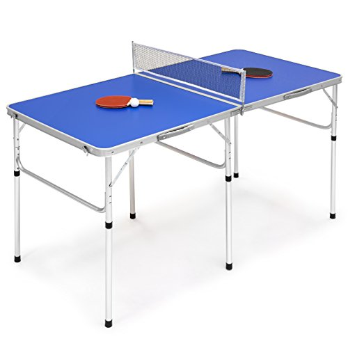 """Best Choice Products Portable 60"""" Ping Pong Folding Table Set w/Balls, Paddles"""