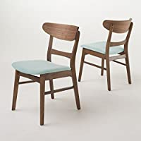 Helen Mid Century Modern Dining Chair (Set of 2) (Mint w/ Walnut Finish)