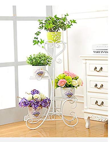 4-Layer Metal Frame, Rust-Proof Wrought Iron, Indoor Living Room Balcony Floor Flower Stand, Potted Plant Stand, Three Colors (Color : (White Wrought Iron Plant Stand)