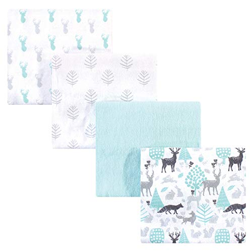 Hudson Baby Unisex Baby Cotton Flannel Receiving Blankets, Linocut Woodland, One Size
