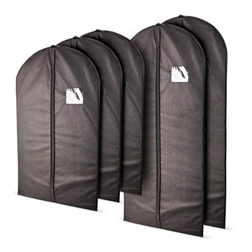 (Plixio Garment Bags Suit Bag for Travel and Clothing Storage of Dresses, Dress Shirts, Coats— Includes Zipper and Transparent Window (Black- 5 Pack: Mixed)