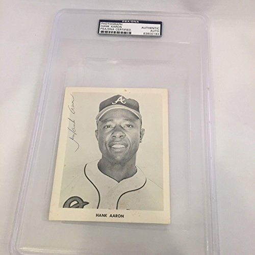 Signed Hank Aaron Photo - Rare 1954 Rookie COA - PSA/DNA Certified - Autographed MLB Photos