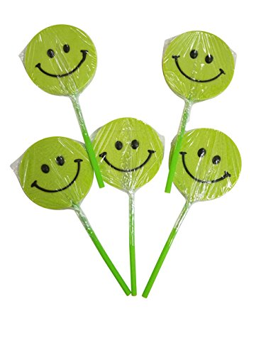 Smiley Face Lollipops - Small Happy Smiley Face Lollipops Green 12 Count