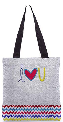 Snoogg Ti Amo Bianco 13,5 X 15 Pollici Tote Bag Shopping Utility Realizzata In Tela Di Poliestere