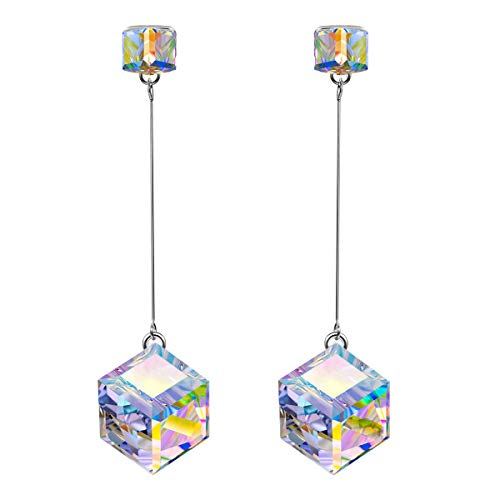 SIVERY Birthday Gift 'Infinity Love' Dangle Earrings with Aurora Swarovski Crystals, Jewelry for Women