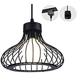 Kiven H-type 3 Wire Vintage Loft Style Black Track Light Pendants Length 4.9 Ft restaurant Chandelier Deco Chandelier Instant Pendant Fixture ,Bulb Not Include,Retro Industrial Pendant Lamp (TB0262-B)