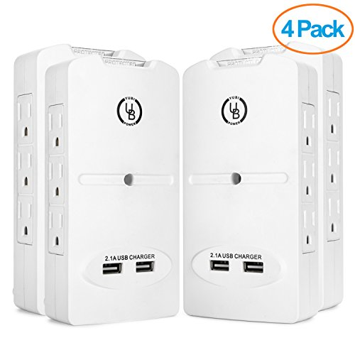 Yubi Power 6 Outlet Power Plug Surge Protector Wall Tap Side-entry with (Tap Side Outlets)