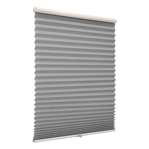 Blackout Cordless Pleated Window Shades, Free Stop Custom Made Any Size from 20-78inch Wide UV Protection Dark Grey Window Blinds, 50″ W x 36″ L