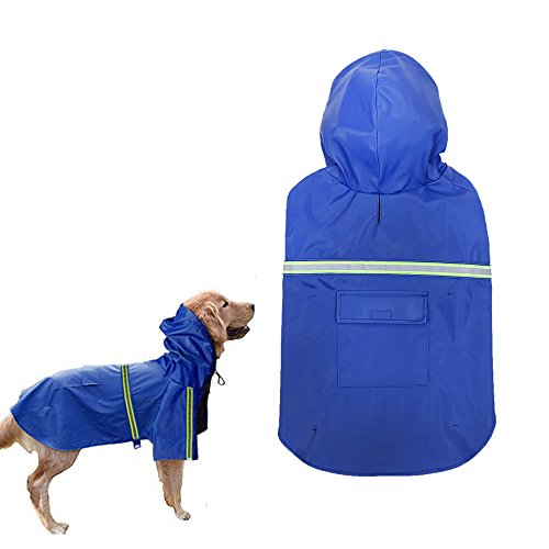 Dog Raincoat,Waterproof Reflective Dog Poncho PU Leisure Lightweight Rain Jacket Coat For Puppy Medium Large Dogs (X-Large) by Ohkuu