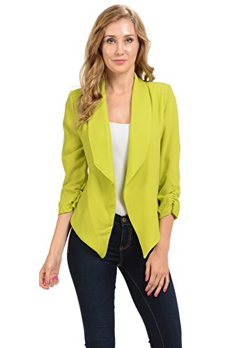 Auliné Collection Womens 3/4 Sleeve Casual Work Lined Open Front Cardigan Blazer Lime Green Small
