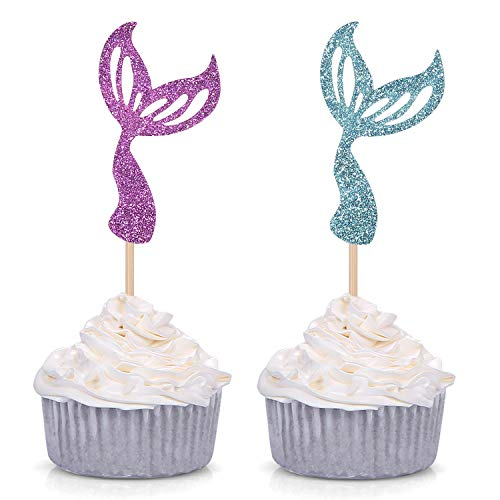 Giuffi Set of 24 Glitter Purple/Blue Mermaid Tail Cupcake Toppers Kids Theme Party Decor