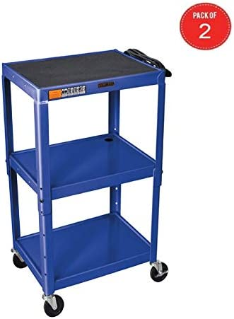 H WILSON W42ABUE Metal Utility Cart-Height Adjustable, Blue Pack of 2