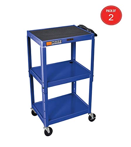 H WILSON W42ABUE Metal Utility Cart-Height Adjustable, Blue (Pack of 2) ()