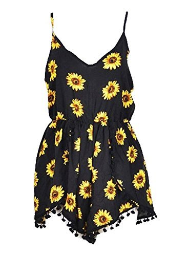Lanzom Women Summer Vintage V Neck Straps Sunflower Print Romper Jumpsuit (X-Large) Yellow -