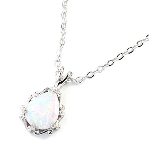 FC JORY White & Rose Gold GP Women Girl CZ Crystal Pendant Pear Created Opal Necklace -