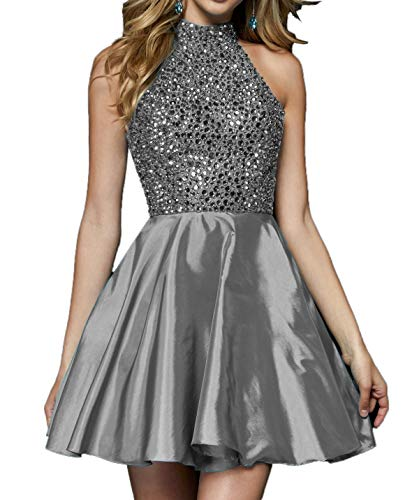 Cocktailkleider Charmant Grau Damen Mini Partykleider 2018 mit Festlichkleider Kurzes Steine Abendkleder 7w7rAXSq