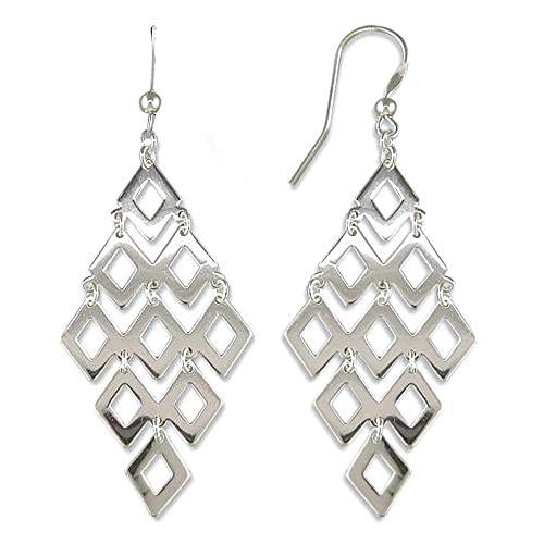 Sterling Shape Silver Diamond (LeCalla Sterling Silver Jewelry Diamond shape Drop Earrings for Women)