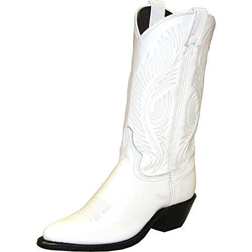 (Abilene Women's White Western Cowgirl Boot Round Toe White 8.5 M US )
