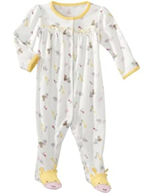 Just One You Made By Carter's Infant Girls Snap Front Animals Sleep and Play Yellow (3Mos)