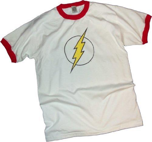 The Flash Distressed Logo Adult Ringer T-Shirt, (Logo Adult Ringer T-shirt)