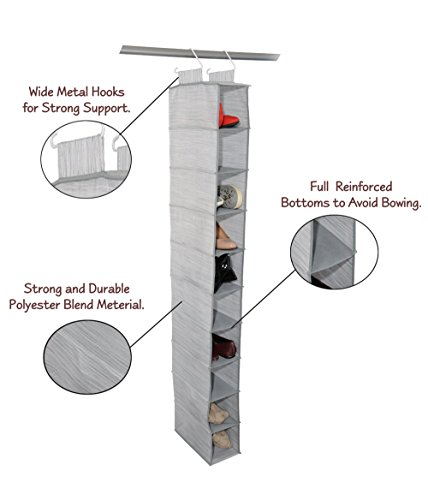 Hanging Shoe and Accessory Organizer by Adorn Insta-Shelf 10-tier - Hanging Shoe Organizer Drawers