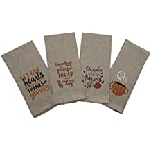 Beige Fall Kitchen Towels - Set of 4 Assorted Designs - 15 x 25 Inches
