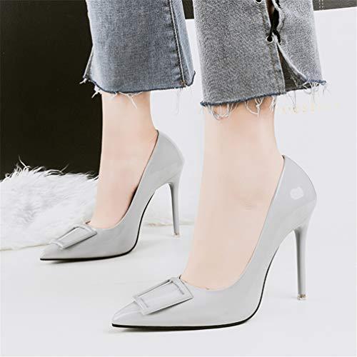 Cuir Femmes Pointu Minces Mariage Orteils Chaussures Hauteur 10cm Talon En Gris De Hauts Talons Escarpins FqfZF08