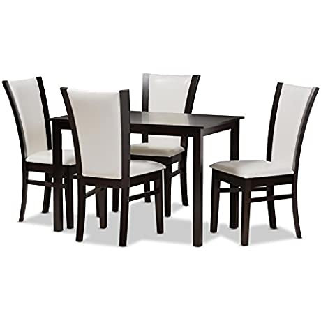 Baxton Studio Arlena Modern And Contemporary 5 Piece Dark Brown Finished White Faux Leather Dining Set
