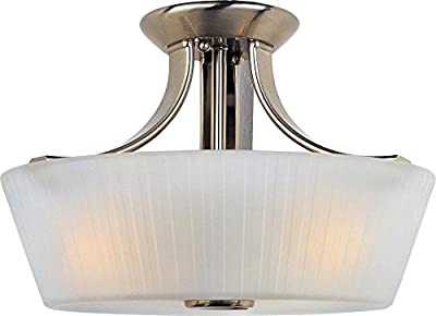 Maxim 21501FTSN Finesse 3-Light Semi-Flush Mount, Satin Nickel Finish, Frosted Glass, MB Incandescent Incandescent Bulb , 60W Max., Dry Safety Rating, Standard Dimmable, Hemp Rope Shade Material, Rated Lumens
