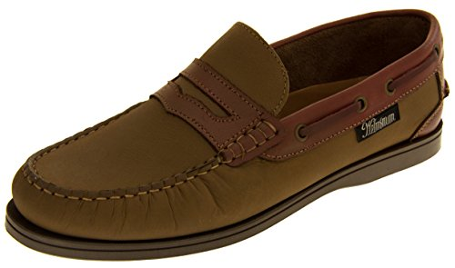 Helmsman 72015 Hombre Cuero Zapatos de la Cubierta Mocasines Piedra y madera roja