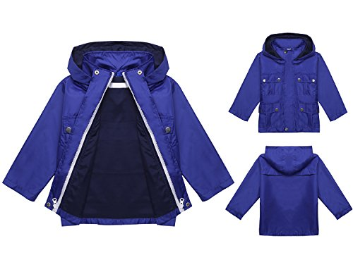 Children's Outdoor Long Sleeve Hooded Raincoat Jacket with Pocket (120, Navy Blue 1) (Child Ages And Stages Of Development Charts)