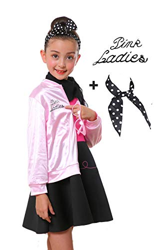 Child 1950s Grease Girl Pink Ladies Jacket Complete Costume with Glasses (M, -