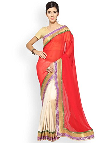 Indian Red Export Georgette Handicrfats Poly Florence Beige Solid Saree amp; qHHTcfwa