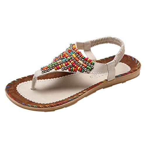 Womens Vintage Boho Sandals,❤️ FAPIZI Girls Clip Toe String Bead Rome Shoes Casual Soft Elastic Band Beach Shoes Sandals Beige]()