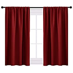 "PONY DANCE Blackout Window Curtains - Bedroom Panels Home Decor Blackout Curtains/Window Covering/Drapes with Rod Pocket Top for Kitchen, 42"" W x 45"" L, Burgundy Red, Set of 2"