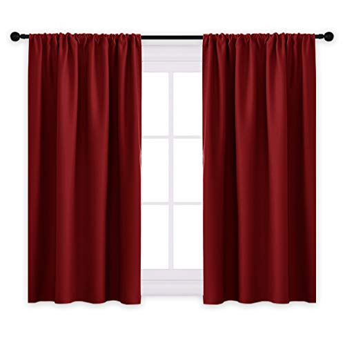 """PONY DANCE Blackout Window Curtains - Bedroom Panels Home Decor Blackout Curtains/Window Covering/Drapes with Rod Pocket Top for Kitchen, 42"""" W x 45"""" L, Burgundy Red, Set of 2"""