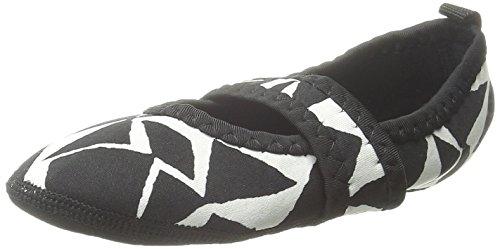 Nufoot Indoor Meisjes Schoenen Besty Lou, Zwart En Wit Honden Tand, X-small 2 Tellen Geo Zwart Wit