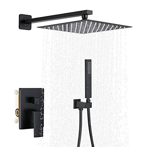 WINDALY Matte - Black - Shower - System, 10 Inch Bathroom Rain Mixer Shower System, Rain Mixer Shower Combo Set, Rough-in Valve Body, Trim and Handheld Showerhead Included