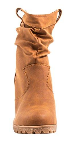 Elara - Botas plisadas Mujer Beige Camel