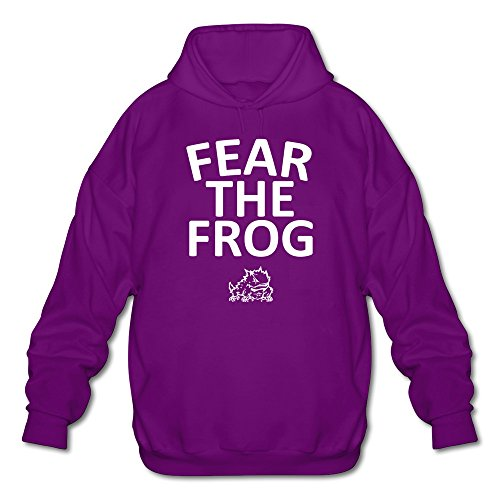 Tjame Men's Texas Tcu Horned Frogs Fear The Frog Logo Hooded Sweatshirt Purple (Matthews Stones Rolling Dave Band)