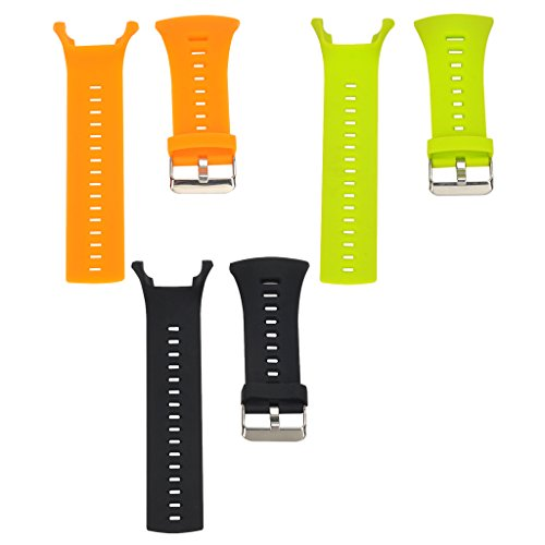 MagiDeal 3Pack Soft Silicone Smart Watch Band Strap Belt and Metal Clasp For Suunto Ambit 3 2 1 Sport Bracelet Black+Lime+Orange by Unknown