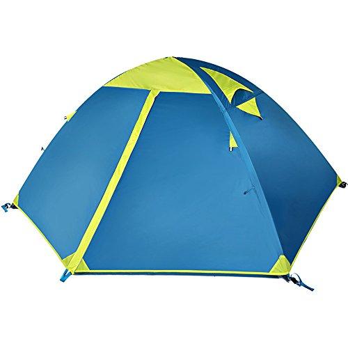 不調和りバーストQFFL zhangpeng テント二重ガラスロッド雨天テントアウトドアトラベルフィールドテント2人キャンプテントブルー/オレンジグリーン トンネルテント ( 色 : 緑 )