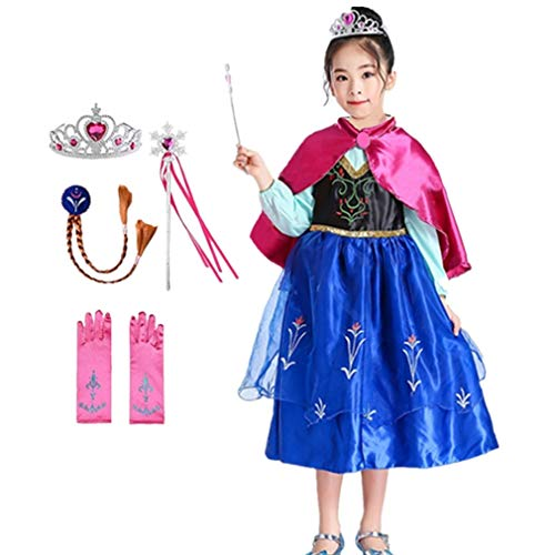 Domiray Princess Dress Frozen Anna Costume with Party Accessories (6pcs) (6-7 Years)