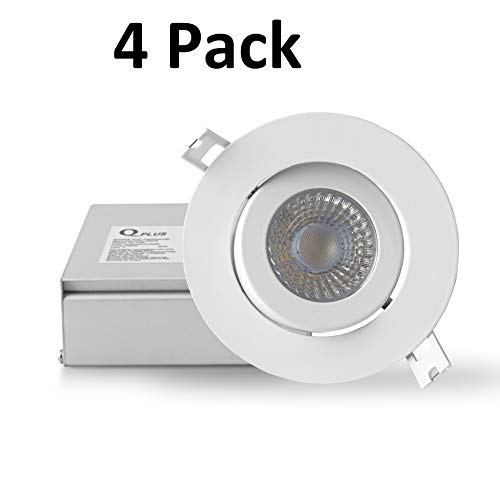 QPLUS 4 Inch 10W Gimbal LED Recessed Lighting (5000K Day Light, 4 Pack), Adjustable Directional Swivel Ultra-Thin Slim Canless Ceiling Downlight with Junction Box, Dimmable, 750lm, Energy Star + ETL