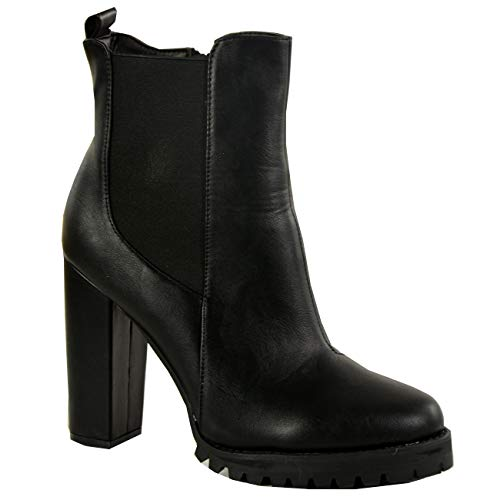 Ankle Size Ladies Boots Chelsea UK Heels Womens Shoes Fashion New Black Black Block Pu Cucu Zip aqwIAC7x
